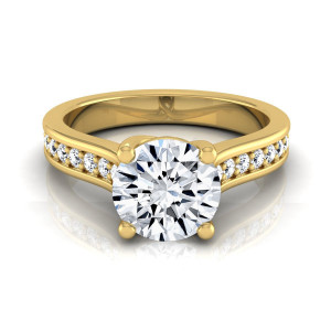 Gold 1 1/3ct TDW Round Diamond Solitaire Engagement Ring - Handcrafted By Name My Rings™