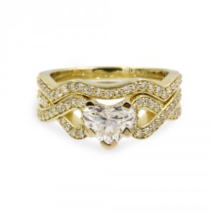 Gold 1 1/6ct TDW White Diamond GIA Certified Intertwist Bridal Set - Handcrafted By Name My Rings™