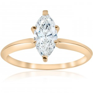 Gold 1 ct TDW Solitaire Marquise Diamond Clarity Enhanced Engagement Ring - Handcrafted By Name My Rings™