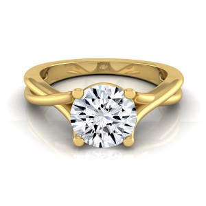 Gold 1/2ct TDW White Diamond Trellis Basket Solitaire Engagement Ring - Handcrafted By Name My Rings™