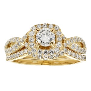 Gold 1ct TDW White Diamond Bridal Set - Handcrafted By Name My Rings™