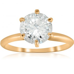 Gold 2 1/2 ct TDW Solitaire Diamond Clarity Enhanced Engagement Ring 6 - Prong - Handcrafted By Name My Rings™