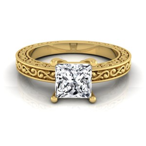 Gold IGI-certified 1ct TDW Princess-cut Diamond Solitaire Engagement Ring - Handcrafted By Name My Rings™