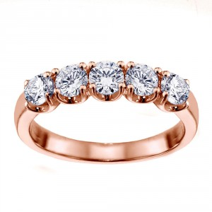 14k/Rose Gold 1ct TDW Split Prong Diamond Anniversary Wedding Ring - Handcrafted By Name My Rings™
