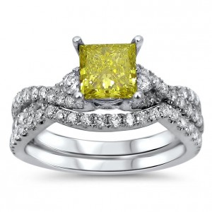 White Gold 1 2/5ct TDW Yellow Diamond Bridal Ring Set - Handcrafted By Name My Rings™