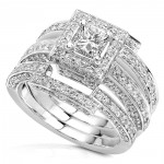 White Gold 1 1/2ct TDW Diamond Princess Halo Bridal Ring Set - Handcrafted By Name My Rings™