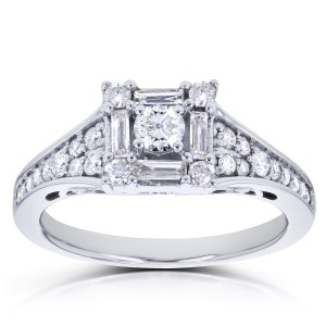 White Gold 1/2ct TDW Diamond Baguette Halo Engagement Ring - Handcrafted By Name My Rings™