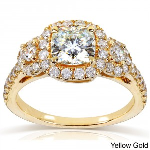 Gold 1 7/8ct TGW Cushion-cut Moissanite and Diamond 3-Stone Halo Engagement Ring - Handcrafted By Name My Rings™