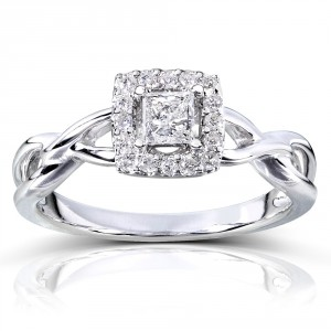 Gold 1/3ct TDW Diamond Halo Engagement Ring - Handcrafted By Name My Rings™