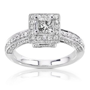 Gold 1ct TDW Diamond Princess Halo Engagement Ring - Handcrafted By Name My Rings™