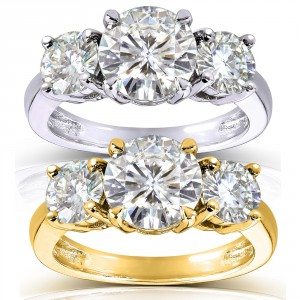 Gold 2 1/2ct TGW Round Three Stone Moissanite Engagement Ring - Handcrafted By Name My Rings™