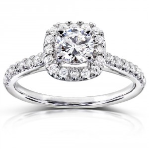 Gold 3/4 ct TDW Diamond Halo Engagement Ring - Handcrafted By Name My Rings™