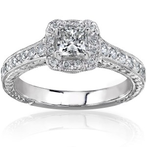 Gold 3/4ct TDW Princess-cut Diamond Halo Engagement Ring - Handcrafted By Name My Rings™