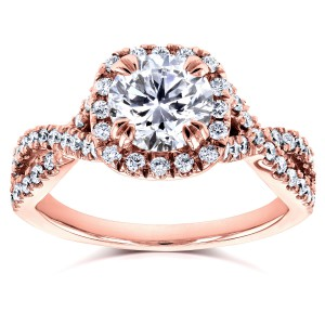 Rose Gold 1 1/2ct TDW Round Diamond Braided Crisscross Engagement Ring - Handcrafted By Name My Rings™