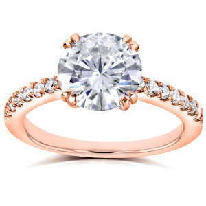 Rose Gold Round Forever Brilliant Moissanite and 1/5ct TDW Diamond Engagement - Handcrafted By Name My Rings™