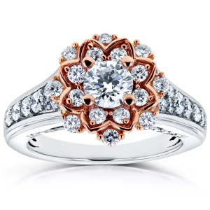 Two Tone Gold 1ct TDW Diamond Flower Engagement Ring - Handcrafted By Name My Rings™