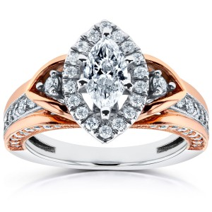 Two-Tone Gold 1ct TDW Marquise Diamond Engagement Ring - Handcrafted By Name My Rings™