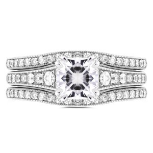 White Gold 1 1/10ct Cushion Moissanite and 1/2ct TDW Diamond 3-piece Bridal S - Handcrafted By Name My Rings™