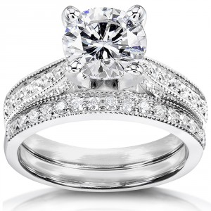 White Gold 1 1/2ct Round Moissanite and 1/3ct TDW Diamond Pave Milgrain Brida - Handcrafted By Name My Rings™