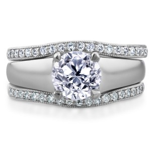 White Gold 1 1/3ct TDW Bridal Set Round Diamond Solitaire with Double Diamond - Handcrafted By Name My Rings™