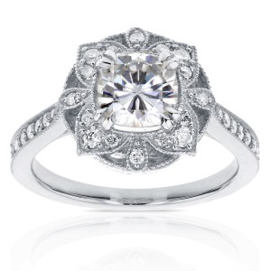 White Gold 1 1/3ct TGW Cushion Moissanite and Diamond Floral Antique Ring - Handcrafted By Name My Rings™