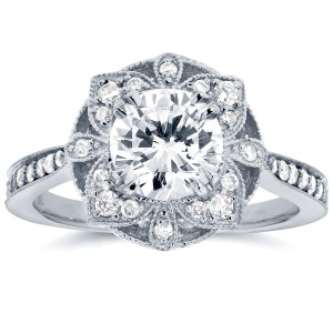 White Gold 1 1/4ct TDW Round Diamond Floral Antique Engagement Ring - Handcrafted By Name My Rings™