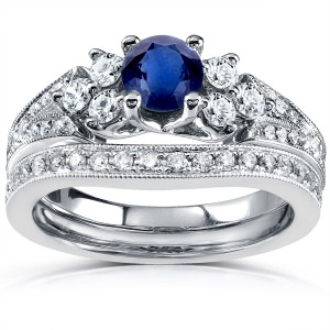 White Gold 1 1/6ct TCW Blue Sapphire and Diamond Vintage Bridal Set - Handcrafted By Name My Rings™