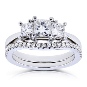 White Gold 1 1/8ct TDW Diamond 3 Stone Princess Bridal Set - Handcrafted By Name My Rings™
