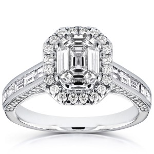 White Gold 1 2/5ct Emerald and Baguette Diamond Art Deco Cathedral Engagement - Handcrafted By Name My Rings™