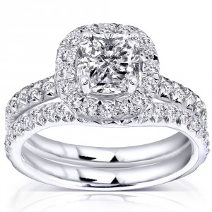 White Gold 1 3/4ct TDW Diamond Bridal Set - Handcrafted By Name My Rings™