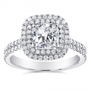 White Gold 1 3/4ct TDW Diamond Double Halo Cushion Cut Engagement Ring - Handcrafted By Name My Rings™