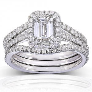 White Gold 1 3/4ct TDW Emerald-cut Halo Diamond 3-piece Bridal Set - Handcrafted By Name My Rings™