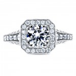 White Gold 1 3/5ct TDW Round Diamond Milgrain Halo Vintage Style Engagement R - Handcrafted By Name My Rings™