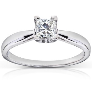 White Gold 1/2ct TDW Diamond Solitaire Engagement Ring - Handcrafted By Name My Rings™
