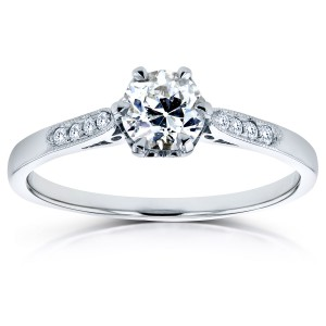 White Gold 1/2ct TDW Old Mine Cut Diamond Ring - Handcrafted By Name My Rings™
