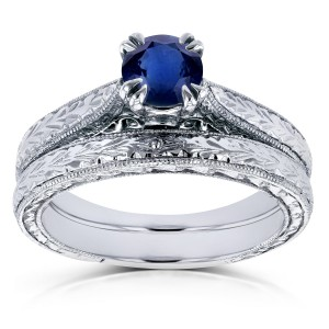 White Gold 1/2ct TGW Round Sapphire and Diamond Accent Vintage Bridal Set - Handcrafted By Name My Rings™
