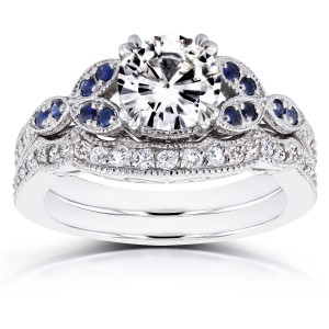 White Gold 1ct Forever Brilliant Moissanite Blue Sapphire and 1/4ct TDW Diamond Bridal Set - Handcrafted By Name My Rings™