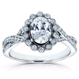 White Gold 1ct TDW Oval Diamond Antique Engagement Ring - Handcrafted By Name My Rings™