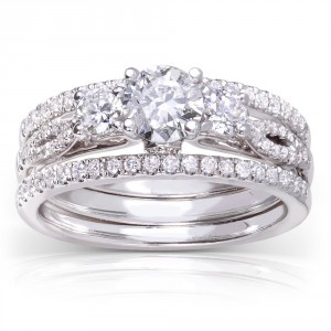 White Gold 1ct TDW Round-cut 3-piece Diamond Bridal Set - Handcrafted By Name My Rings™