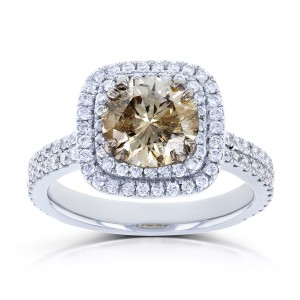 White Gold 2 1/4ct TDW Mixed Brown and White Diamond Double Halo Ring - Handcrafted By Name My Rings™