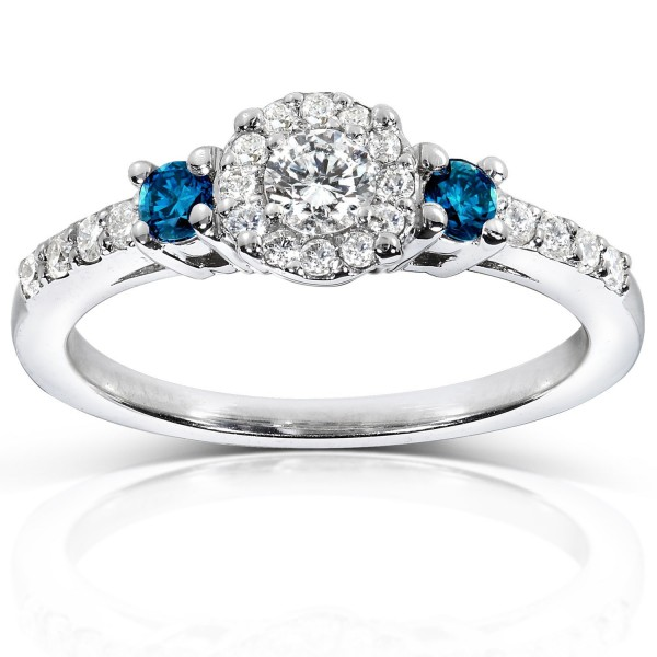 White Gold 2/5ct Blue and White Diamond Three Stone Engagement Ring - Handcrafted By Name My Rings™