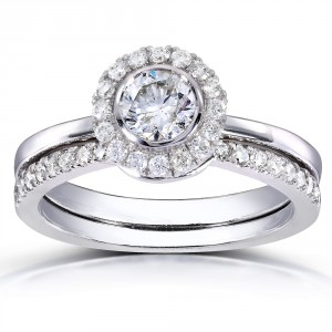 White Gold 3/4ct TDW Round-cut Halo Diamond Bridal Set - Handcrafted By Name My Rings™