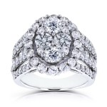 White Gold 3ct TDW Oval Cluster Round Brilliant Diamond Ring - Handcrafted By Name My Rings™