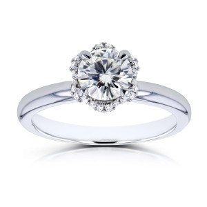 White Gold 7/8ct TCW Moissanite and Diamond Accented Floral Engagement Ring - Handcrafted By Name My Rings™