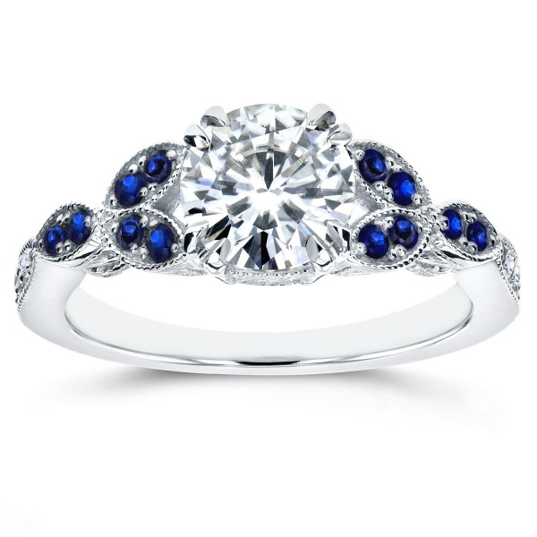 White Gold Blue Sapphire and 1ct TDW Diamond Antique Engagement Ring - Handcrafted By Name My Rings™
