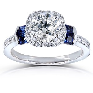 White Gold Certified Sapphire and 1 1/6ct TDW Diamond Eco-Friendly Lab Grown Diamond Hal - Handcrafted By Name My Rings™