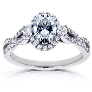 White Gold Oval Forever One GHI Moissanite and 1/3ct TDW Diamond Halo Vintage Engagement Ring - Handcrafted By Name My Rings™