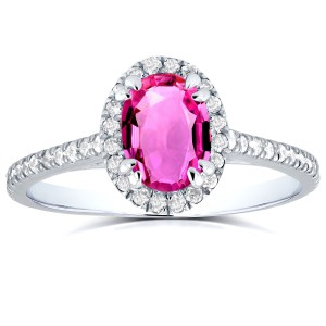 White Gold Oval Pink Sapphire and 1/3ct TDW Halo Diamond Ring - Handcrafted By Name My Rings™