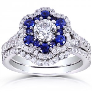 White Gold Round Blue Sapphire and 1 1/10ct TDW Floral Diamond Bridal Set - Handcrafted By Name My Rings™