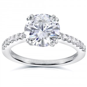 White Gold Round Moissanite and 1/5ct TDW Diamond Engagement Ring - Handcrafted By Name My Rings™